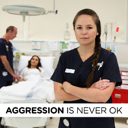 'Aggression is never ok' social media campaign artwork