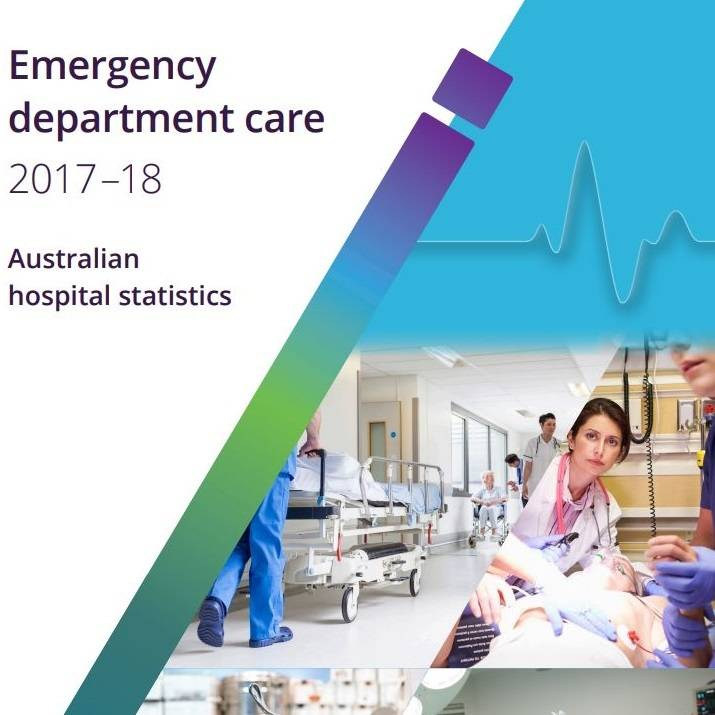 'Emergency department care 2017–18, Australian hospital statistics' report cover artwork