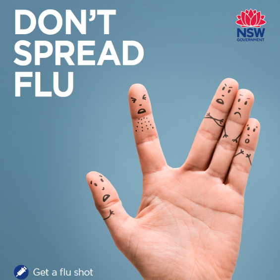 Don't spread flu poster with photo of a hand with faces drawn on it