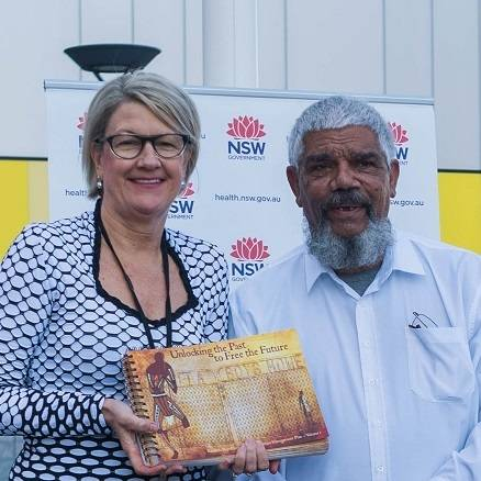 Uncle Lester Maher and Elizabeth Koff, Secretary NSW Health
