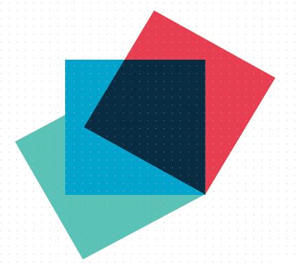 Semi-transparent, overlapping coloured squares