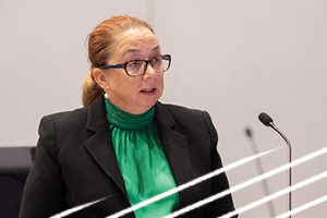 Senior Council Assisting Kate Eastman presenting at a Hearing. She is wearing a emerald green blouse, black blazer and tortoise shell glasses. Speaking about the Fourth Progress Report.
