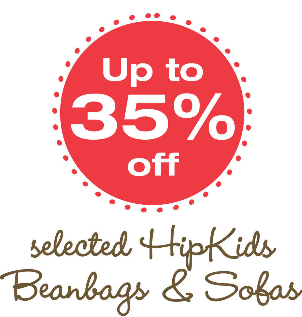 Save up to 35% off a select range of beanbags and sofas at Hip Kids.